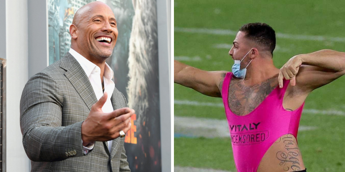 Dwayne Johnson Reacts To The 'Super Bowl' Streaker Wearing His Shoes